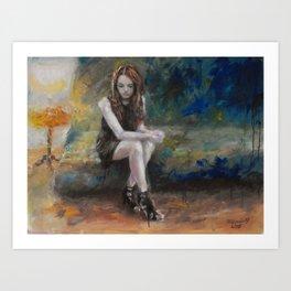 she on sofa Art Print