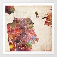 san francisco Art Prints featuring San Francisco map by MapMapMaps.Watercolors