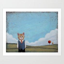 Cat in a Field anthropomorphic Art Print