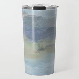 Sky Gray Blue Sage Green Abstract Wall Art, Painting Art, Lake Nature Painting Print, Modern Travel Mug