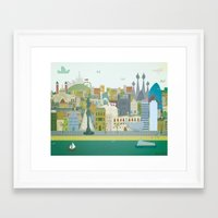 barcelona Framed Art Prints featuring Barcelona by LaPendeja