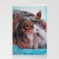hippo Stationery Cards featuring Hippo by tsquared91