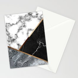 Elegant Silver Marble with Bronze Lining Stationery Cards