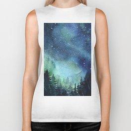 Galaxy Watercolor Aurora Borealis Painting Biker Tank