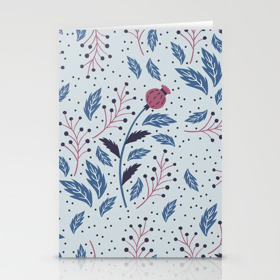 Purple Thistle Buds Stationery Cards