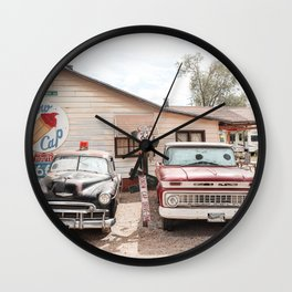 Old American Cars On Historic Route 66 In Arizona Photo Art Print   Travel Photography Wall Clock