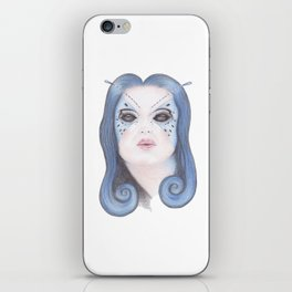 Blue Butterfly Girl iPhone Skin
