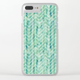 Caribbean green watercolor pattern Clear iPhone Case