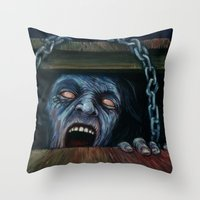 evil dead Throw Pillows featuring THE EVIL DEAD by chris zombieking
