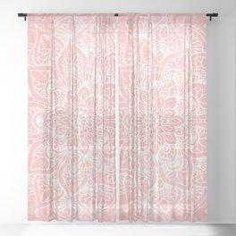 Mandala, Yoga Love, Coral, Wall Art Boho Sheer Curtain