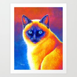 Jewel of the Orient - Colorful Siamese Cat Art Print