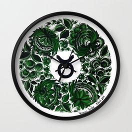 Taurus in Petrykivka style (with signature) Wall Clock