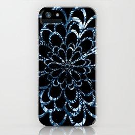 Ice Blue Floral Design iPhone Case