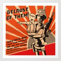 propaganda Art Prints featuring Propaganda Series by Alex.Raveland...robot.design.digital.art