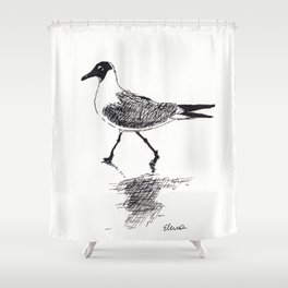 Black and White Seagull Shower Curtain