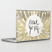 treat yo self Laptop & iPad Skins featuring Treat Yo Self – Gold by Cat Coquillette