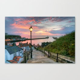 Whitby 199 Steps, Pink Glow. Canvas Print