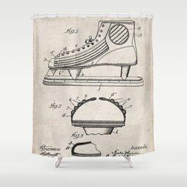 Ice Hockey Skates Patent - Ice Skates Art - Antique Shower Curtain