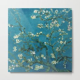 Vincent van Gogh Blossoming Almond Tree (Almond Blossoms)  Dark Blue Metal Print
