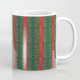 Christmas Red and Green Holiday Woven Stripes Coffee Mug