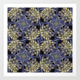 Yellow Flowers and Dark Blue Garden, Yellow Dill Art Print