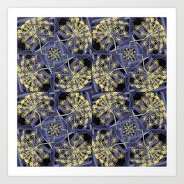 Yellow Flowers and Dark Blue Garden, Yellow Dill Art Print