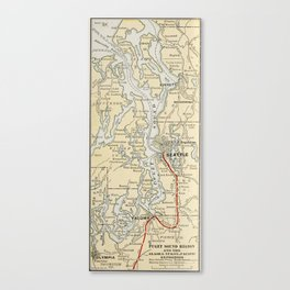 Vintage Map of The Puget Sound (1909) Canvas Print