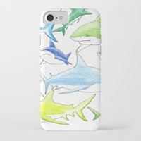 sharks iPhone & iPod Cases featuring sharks by Kathryn Rickards