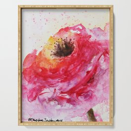 Big Pink Rose Blossom watercolor by CheyAnne Sexton Serving Tray