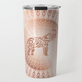 Rose Gold Elephant Mandala Travel Mug