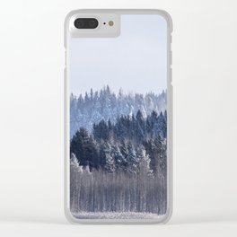 Blue shades in cold winter morning Clear iPhone Case