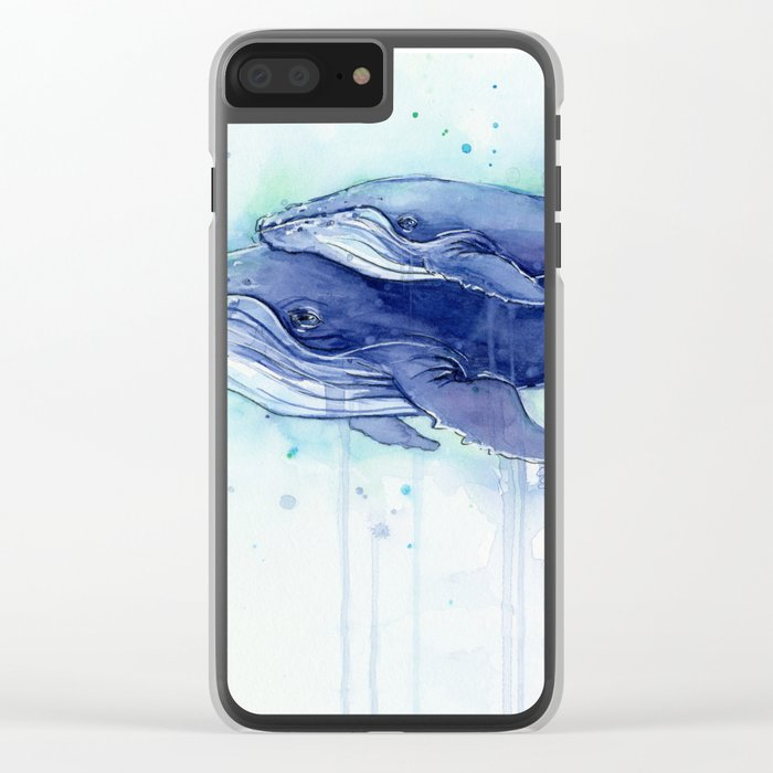 Humpback Whale Watercolor Mom and Baby Painting Whales Sea Creatures Clear iPhone Case