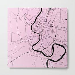Bangkok Thailand Minimal Street Map - Pastel Pink and Black Metal Print