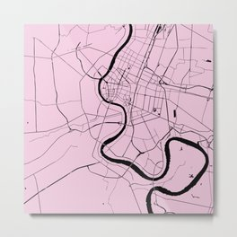 Bangkok Thailand Minimal Street Map - Pastel Pink and Black Metal Print