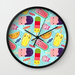 Kawaii Ice Cream Day Pattern for Children Wall Clock