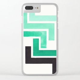 Teal Turquoise Ancient Aztec Pattern Mid-century Modern Simple Geometric Pattern Watercolor Minimali Clear iPhone Case