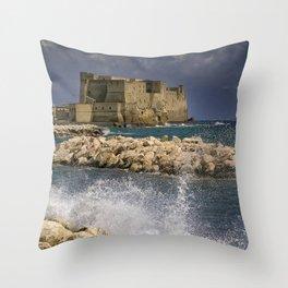 Napoli. Waves on the rocks. Throw Pillow
