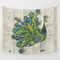 peacock Wall Tapestries featuring Peacock  by Sheree Joy Burlington