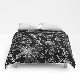 Floral Pattern II Black and White Comforters
