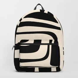 Palm Springs - Midcentury Modern Abstract Pattern in Black and Almond Cream  Backpack
