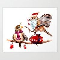 santa Art Prints featuring Santa by Anna Shell