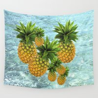 pineapples Wall Tapestries featuring Pineapples by Erika Kaisersot