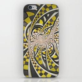 Liquid Taxi Cab, a Yellow Checkered Retro Fractal iPhone Skin