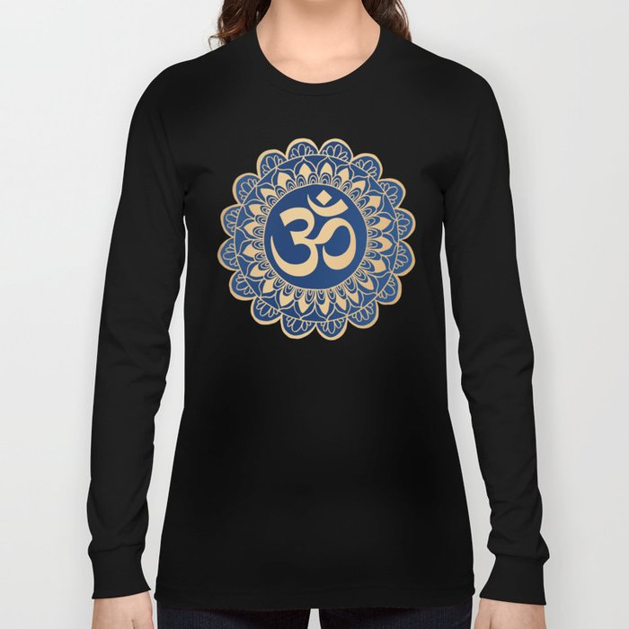 Blue and Gold Ohm Mandala Long Sleeve T-shirt