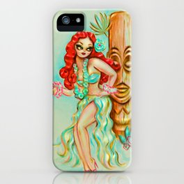 Redhead Hula Girl with Tiki iPhone Case