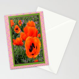 Oriental Orange Poppy Garden Moss Green Pink Abstract Stationery Cards