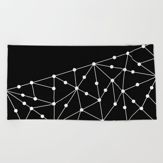 Abstract black and white pattern. Mesh . Beach Towel