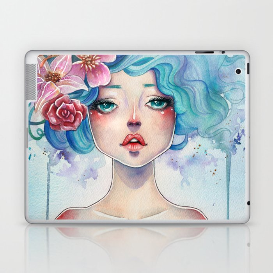 Blue Hair Laptop & iPad Skin