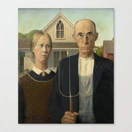 American Gothic Oil Painting by Grant Wood Canvas Print