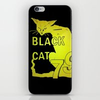 duvet cover iPhone & iPod Skins featuring BLACK CAT DUVET COVER by aztosaha